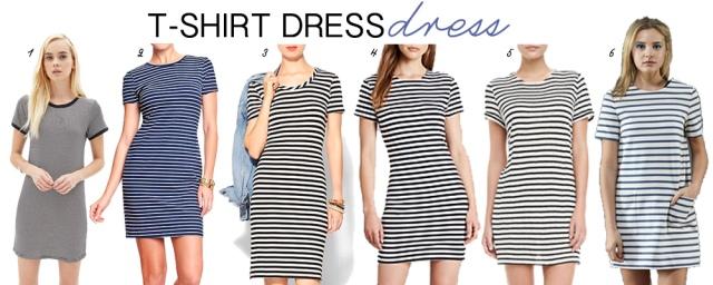 striped t-shirt dress options